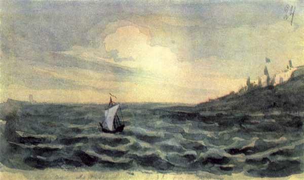 萊蒙托夫的水彩畫《帆》